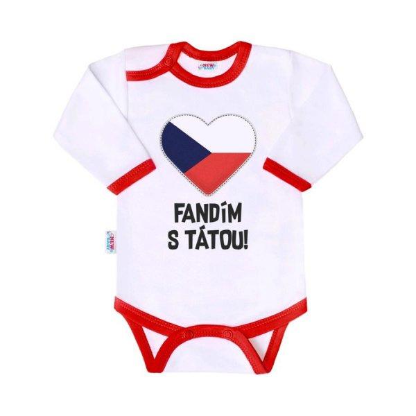 New Baby Body s potiskem New Baby Fandím s tátou Červená
