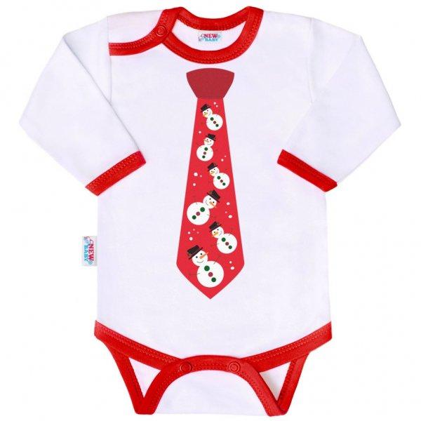 New Baby Body s potiskem New Baby s kravatou Červená