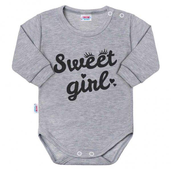 New Baby Kojenecké body s dlouhým rukávem New Baby Sweet girl šedé Šedá