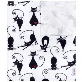 New Baby Nepromokavá flanelová podložka New Baby bílá s černou kočkou