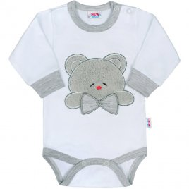New Baby Luxusní kojenecké body s dlouhým rukávem New Baby Honey Bear s 3D aplikací
