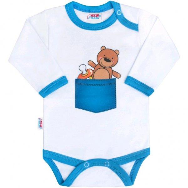 New Baby Body s potiskem New Baby medvídek v kapse