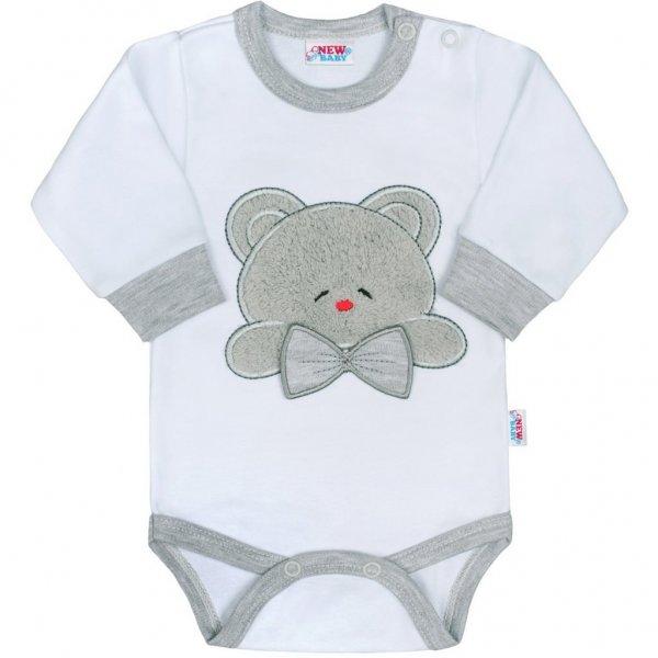 New Baby Luxusní kojenecké body s dlouhým rukávem New Baby Honey Bear s 3D aplikací Bílá