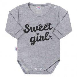 New Baby Kojenecké body s dlouhým rukávem New Baby Sweet girl šedé