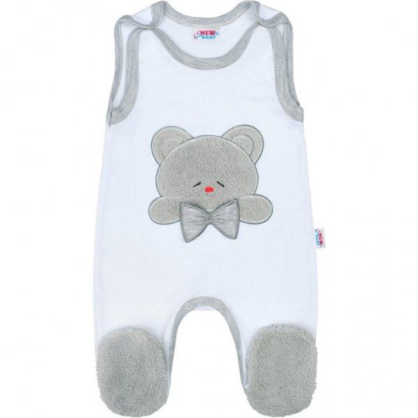 New Baby Luxusní kojenecké dupačky New Baby Honey Bear s 3D aplikací Bílá