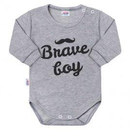 New Baby Kojenecké body s dlouhým rukávem New Baby Brave boy šedé