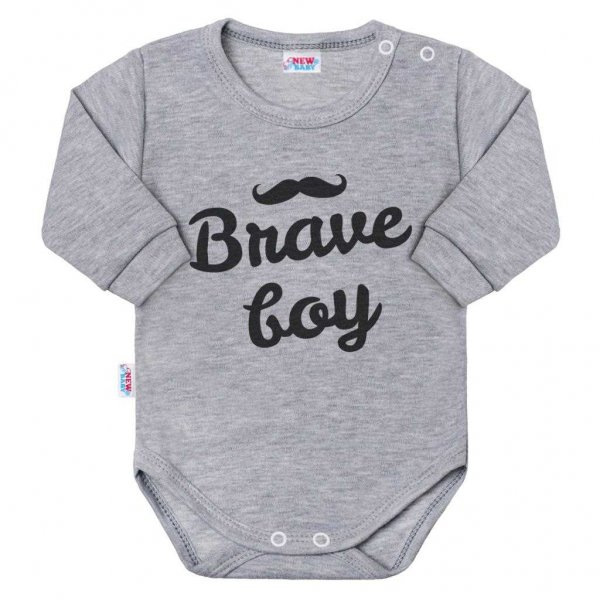 New Baby Kojenecké body s dlouhým rukávem New Baby Brave boy šedé Šedá