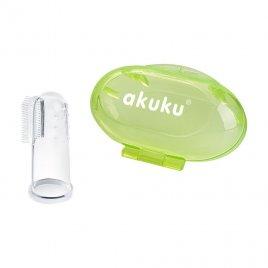 Akuku První zubní kartáček s pouzdrem Akuku zelený
