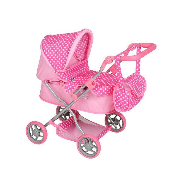 PlayTo Hluboký kočárek pro panenky PlayTo Viola světle růžový Světle růžová