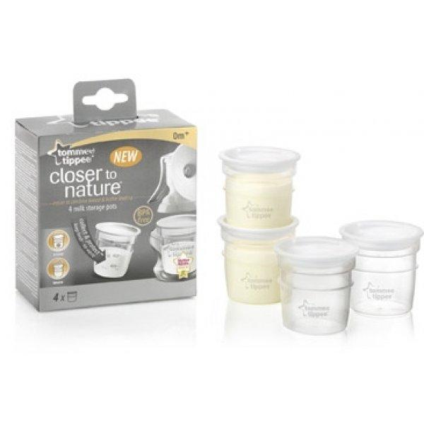 Tommee Tippee NÁDOBKY  - na skladování mateřského mléka, C2N, 4 ks, 0+ Transparent