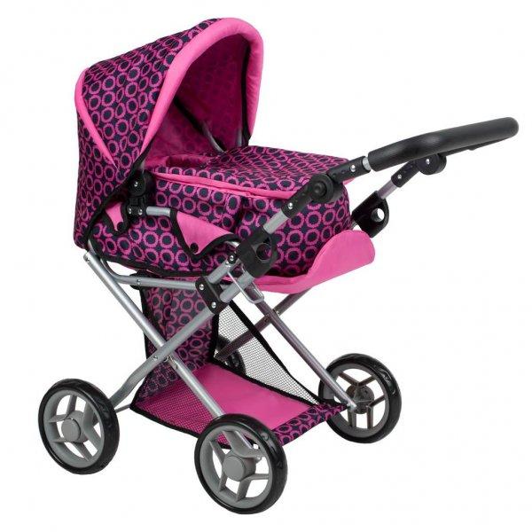 PlayTo Multifunkční kočárek pro panenky PlayTo Elsa růžovo-černý Růžová