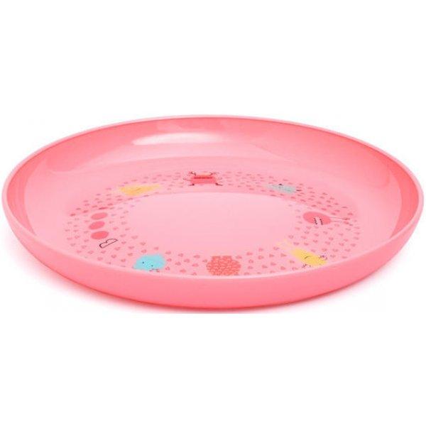 Suavinex Jídelní talíř na učení BOOO Růžový