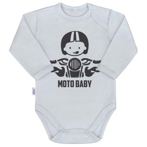 New Baby Body s potiskem New Baby Moto baby šedé Šedá