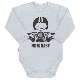 New Baby Body s potiskem New Baby Moto baby šedé