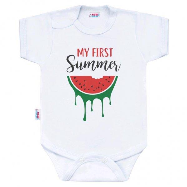 New Baby Body s potiskem New Baby My first Summer Červená