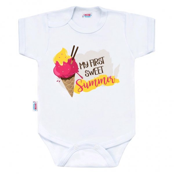 New Baby Body s potiskem New Baby MY FIRST SWEET Summer růžové Růžová