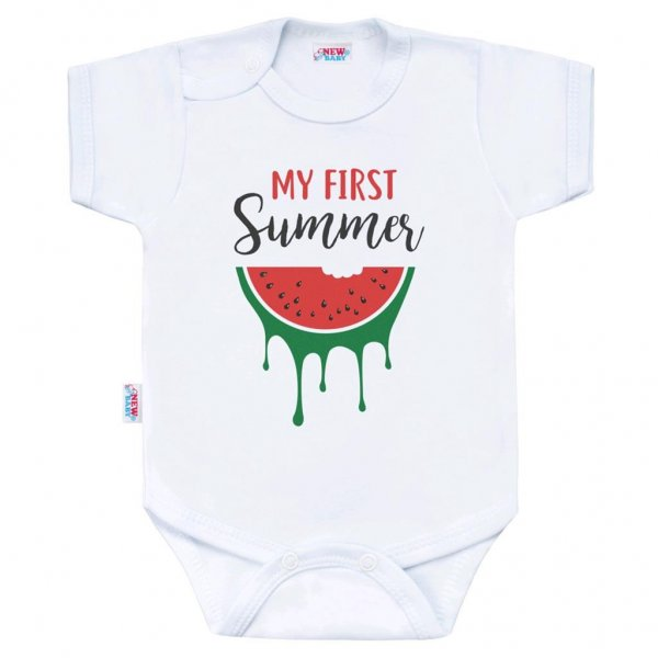 New Baby Body s potiskem New Baby My first Summer Červená