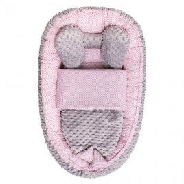 Belisima Hnízdečko s peřinkou pro miminko Minky Sweet Baby Belisima růžové