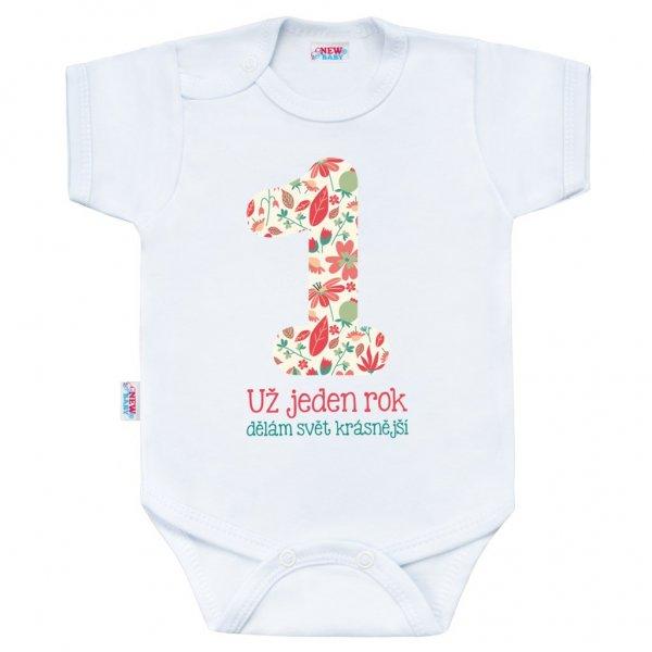 New Baby Body s potiskem New Baby Už jeden rok dělám svět krásnější Bílá