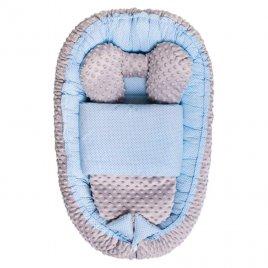 Belisima Hnízdečko s peřinkou pro miminko Minky Sweet Baby Belisima modré