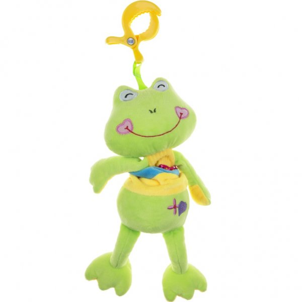 Akuku Plyšová hračka s hracím strojkem Akuku žabka Zelená