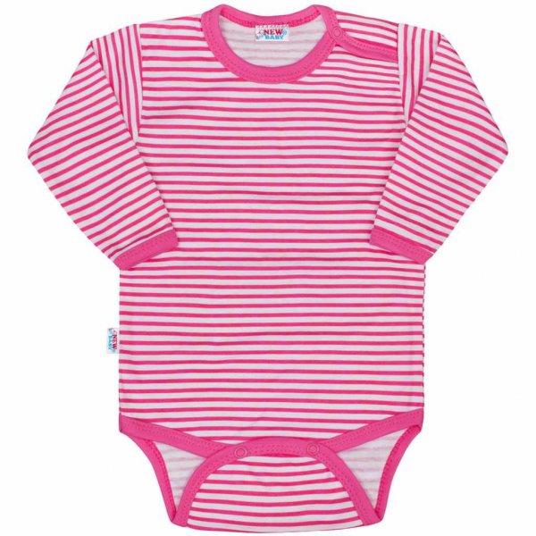 New Baby Kojenecké body New Baby Classic II s růžovými pruhy Růžová