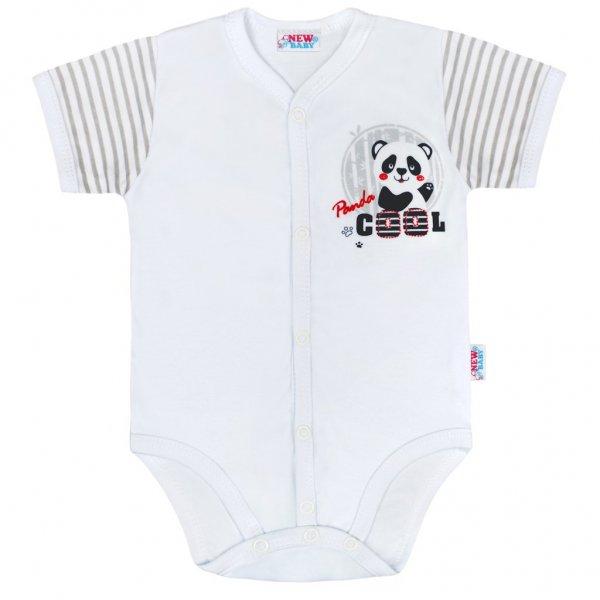 New Baby Kojenecké celorozepínací body s krátkým rukávem New Baby Panda Šedá