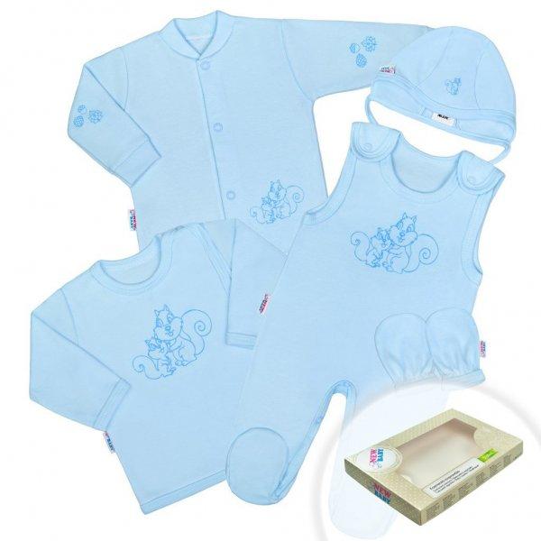 New Baby 5-dílná soupravička New Baby Veverky v krabičce modrá Modrá