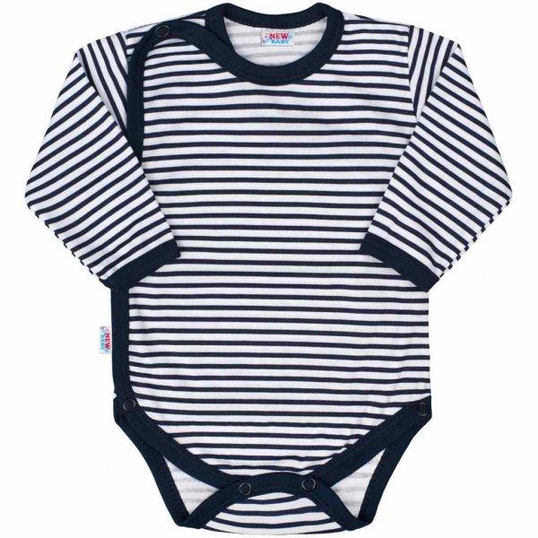 New Baby Kojenecké celorozepínací body New Baby Classic II s modrými pruhy Modrá