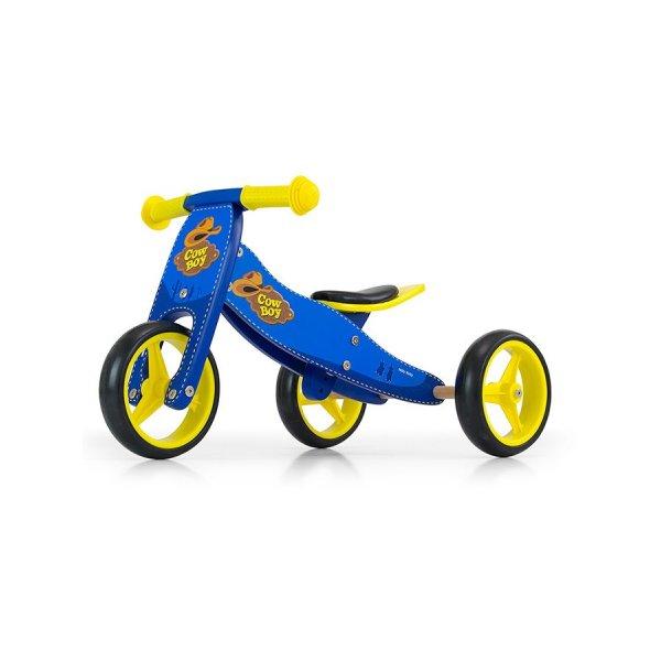 Milly Mally Dětské multifunkční odrážedlo kolo 2v1 Milly Mally JAKE blue Cowboy Modrá