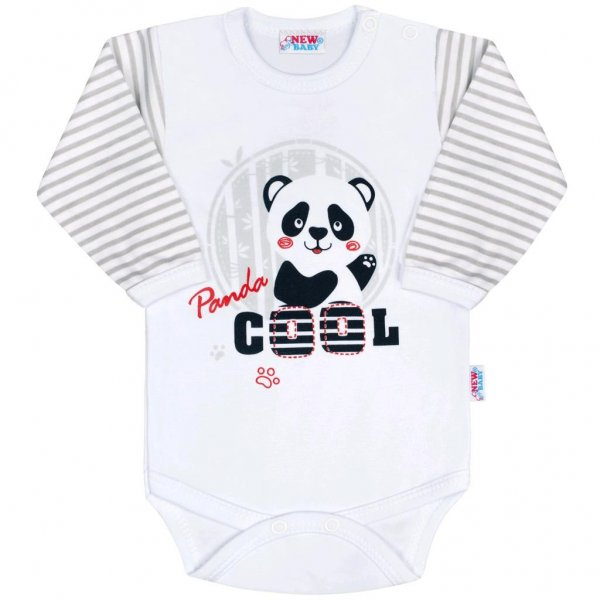New Baby Kojenecké body s dlouhým rukávem New Baby Panda Šedá