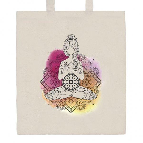 New Baby Bavlněná nákupní taška přírodní s potiskem New Baby Mandala Béžová