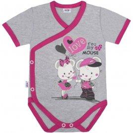 New Baby Dětské body s bočním zapínáním krátký rukáv New Baby Love Mouse