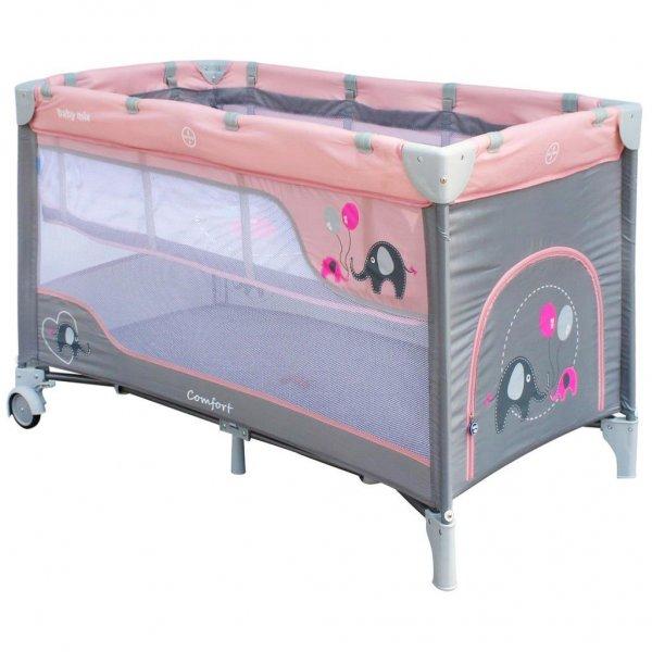 Baby Mix Dětská cestovní postýlka Baby Mix Sloni Pink Růžová