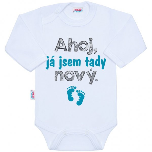 New Baby Body s potiskem New Baby Ahoj, já jsem tady nový. Tyrkysová