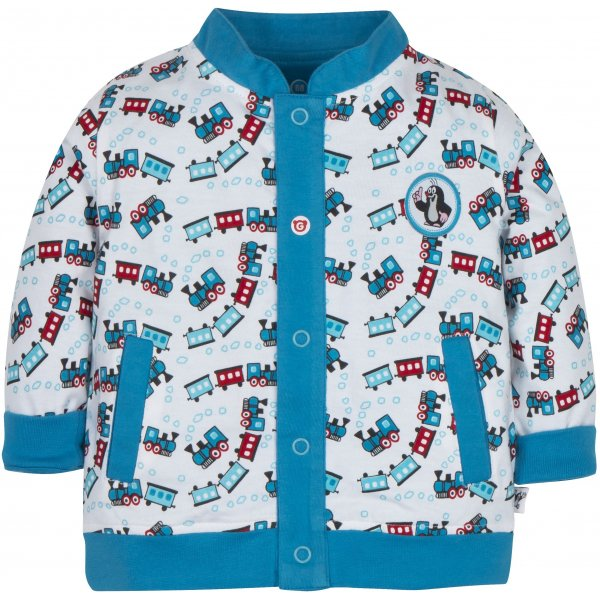 Gmini Kabátek oboustranný chlapec KRTEK vláček 2019 Modrá