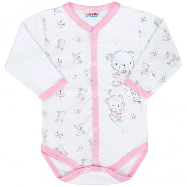 New Baby Kojenecké celorozepínací body New Baby Bears růžové Růžová