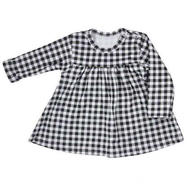 Koala Kojenecké bavlněné šatičky Koala Checkered černo-bílé Bílá