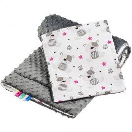 New Baby Oboustranný Set z Minky do kočárku New Baby teddy šedý