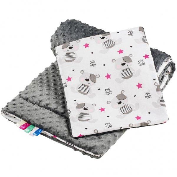 New Baby Oboustranný Set z Minky do kočárku New Baby teddy šedý Šedá