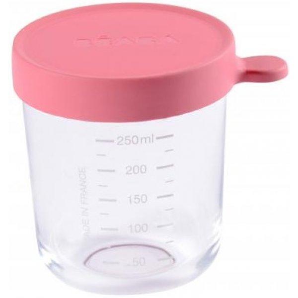 Beaba Kelímek na jídlo skleněný 250ml Tmavě růžový
