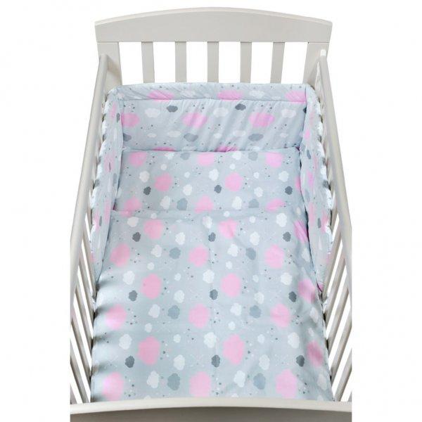 New Baby 3-dílné ložní povlečení New Baby 90/120 cm obláčky růžové Růžová
