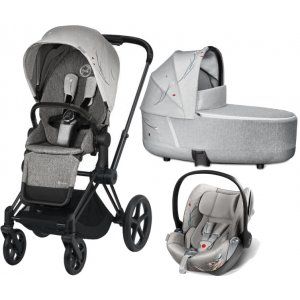 Cybex Kočárek Priam Matt Black + Seat Fashion, Seat Pack, LUX carry cot + Cloud Z i-Size 2021 Koi Crystallized