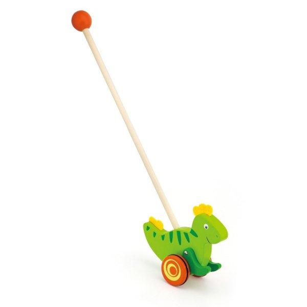 Viga Dřevěná jezdící hračka Viga dinosaurus Zelená