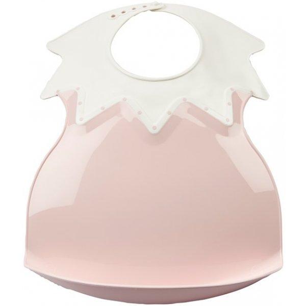 Thermobaby Plastový bryndák s límcem Powder Pink