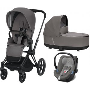 Cybex Kočárek Set Priam Matt Black Seat Pack včetně korby + Aton 5 2019 Manhattan Grey