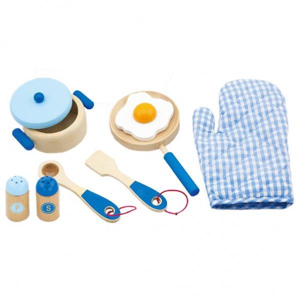Viga Dětské dřevěné nádobí Viga-snídaně modré Modrá