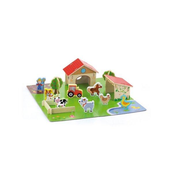 Viga Dětské dřevěné 3D puzzle Viga Farma Multicolor