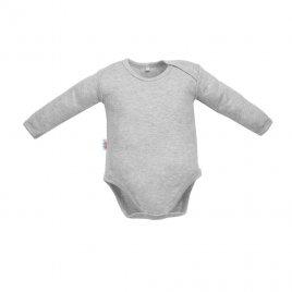 New Baby Kojenecké body s dlouhým rukávem New Baby Pastel šedý melír