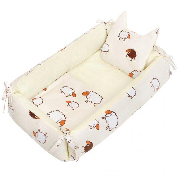 New Baby Multifunkční hnízdečko s polštářkem a peřinkou New Baby ovečky béžový Béžová